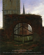 The Cemetery Gate (The Churchyard) painting reproduction, Caspar David Friedrich
