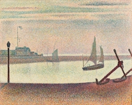 The Channel at Gravelines, Evening painting reproduction, Georges Seurat