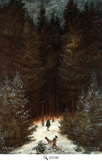 Caspar David Friedrich, The Chasseur in the Woods oil painting reproduction