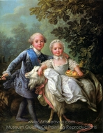 The Comte d'Artois and his Sister, Madame Clotilde painting reproduction, Francois-Hubert Drouais