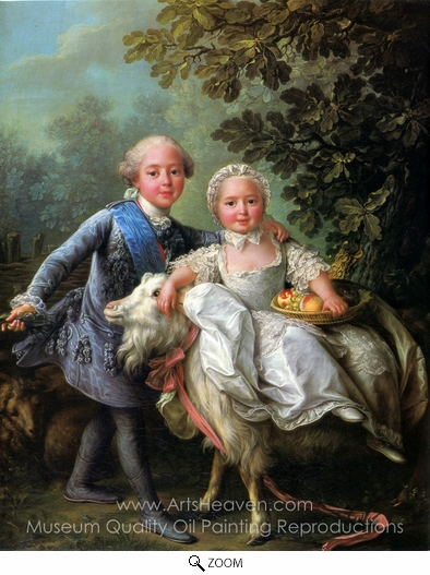 Francois-Hubert Drouais, The Comte d'Artois and his Sister, Madame Clotilde oil painting reproduction