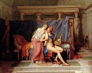 The Courtship of Paris and Helen painting reproduction, Jacques-Louis David