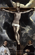 The Crucifixion with Two Donors painting reproduction, El Greco