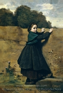 The Curious Little Girl painting reproduction, Jean-Baptiste Camille Corot