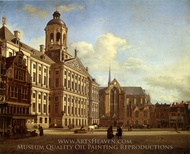 The Dam with the New Town Hall in Amsterdam painting reproduction, Jan Van Der Heyden