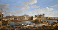 The Darsena Delle Galere and Castello Nuovo at Naples painting reproduction, Caspar Van Wittel