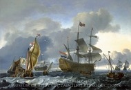The Dutch Attack on the Medway: Royal Charles Carried into Dutch Waters painting reproduction, Ludolf Backhuysen