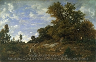 The Edge of the Woods at Monts-Girard, Fontainebleau Forest painting reproduction, Theodore Rousseau