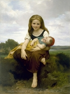 The Elder Sister painting reproduction, William Adolphe Bouguereau