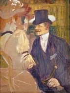 The Englishman (William Tom Warrener) at the Moulin Rouge painting reproduction, Henri De Toulouse-Lautrec