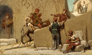 The Fable of the Miller, His Son, and the Donkey painting reproduction, Elihu Vedder