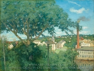 The Factory Village painting reproduction, Julian Alden Weir