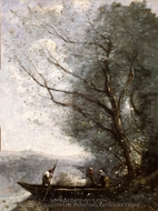 The Ferryman painting reproduction, Jean-Baptiste Camille Corot