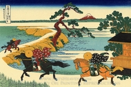 The Fields of Sekiya by the Sumida River painting reproduction, Katsushika Hokusai