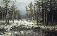 The First Snow painting reproduction, Ivan Shishkin