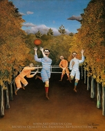 The Football Players painting reproduction, Henri Rousseau