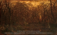 The Forest in Winter at Sunset painting reproduction, Theodore Rousseau