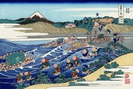 The Fuji from Kanaya on the Tokaido painting reproduction, Katsushika Hokusai