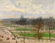 The Garden of the Tuileries on a Winter Afternoon painting reproduction, Camille Pissarro