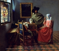 The Glass of Wine painting reproduction, Jan Vermeer