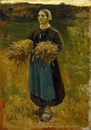 The Gleaner painting reproduction, Jules Breton