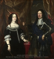 The Grand Duke Ferdinand II of Tuscany and His Wife painting reproduction, Justus Sustermans