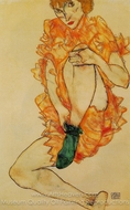 The Green Stocking painting reproduction, Egon Schiele