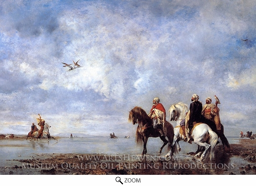 Eugene Fromentin, The Heron Hunt oil painting reproduction