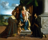 The Holy Family, with the Young Saint John the Baptist, a Cat, and Two Donors painting reproduction, Dosso Dossi