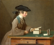 The House of Cards painting reproduction, Jean Simeon Chardin