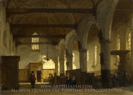 The Interior of the Bakenesserkerk, Haarlem painting reproduction, Johannes Bosboom