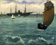 """The """"Kearsarge"""" at Boulogne painting reproduction, Edouard Manet"""