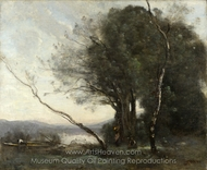The Leaning Tree Trunk painting reproduction, Jean-Baptiste Camille Corot
