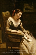 The Letter painting reproduction, Jean-Baptiste Camille Corot