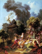 The Lover Crowned painting reproduction, Jean-Honore Fragonard