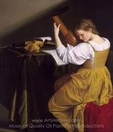 The Lute Player painting reproduction, Orazio Gentileschi