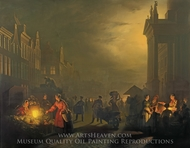 The Market Place, Rotterdam painting reproduction, Petrus van Schendel
