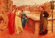 The Meeting of Dante and Beatrice painting reproduction, Henry Holiday