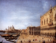 The Molo: Looking West painting reproduction, Canaletto