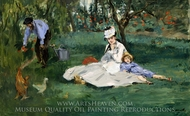 The Monet Family in Their Garden at Argenteuil painting reproduction, Edouard Manet
