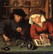 The Money Lender and His Wife painting reproduction, Quentin Massys