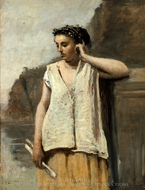 The Muse: History painting reproduction, Jean-Baptiste Camille Corot