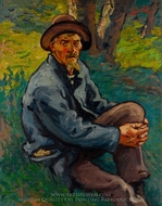 The Old Mushroom Gatherer painting reproduction, Georges D'Espagnat