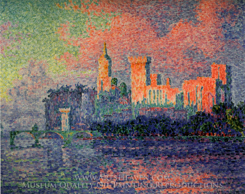reproduction painting paul signac the papal palace at avignon hand painted reproductions art. Black Bedroom Furniture Sets. Home Design Ideas