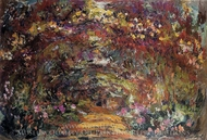 The Path under the Rose Trellises, Giverny painting reproduction, Claude Monet
