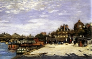 The Pont des Arts and the Institut de France, Paris painting reproduction, Pierre-Auguste Renoir