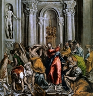 The Purification of the Temple painting reproduction, El Greco
