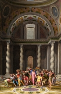The Purification of the Temple painting reproduction, Marcello Venusti