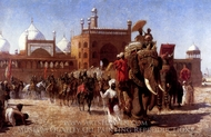The Return of the Imperial Court From the Great Mosque at Delhi painting reproduction, Edwin Lord Weeks