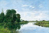 The River Touques at Saint-Arnoult painting reproduction, Eugene-Louis Boudin